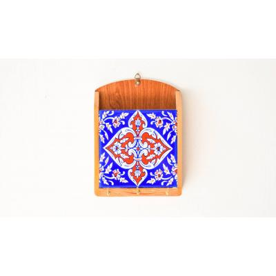 Key Holder BLue & White Tile n Wood Work
