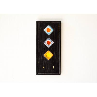 Wooden Key Holder With Black Polish & Tile Work