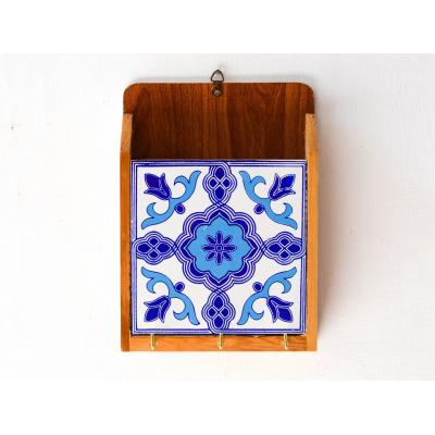 Key Holder Blue And White Tile Work