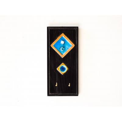 Hand Crafted Wood & Tile Key Holder