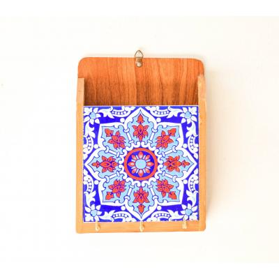 Blue & red tile key holder