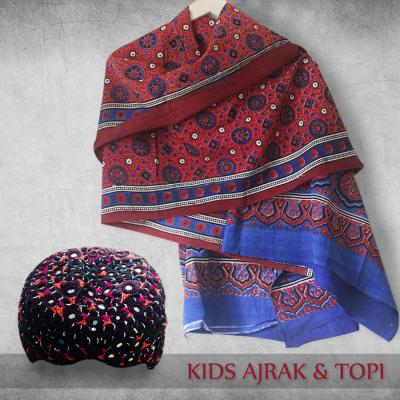 Pack of Sindhi Ajrak & Cap for Kid