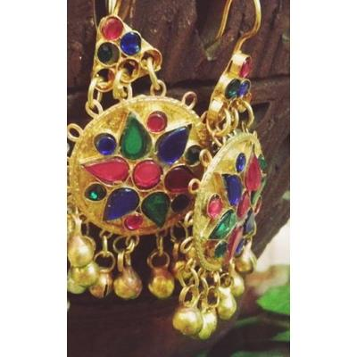 afghani multi stone earrings
