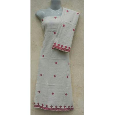 Phulkari embroidered unstiched off white shirt for her
