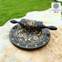 Wooden Bread Roller With Black Lacquer Art Flower Pattern