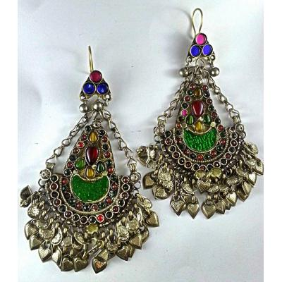 afghan antique long earrings