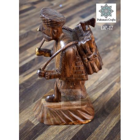 Hand Carved Wood Sculpture Of Old Farmer