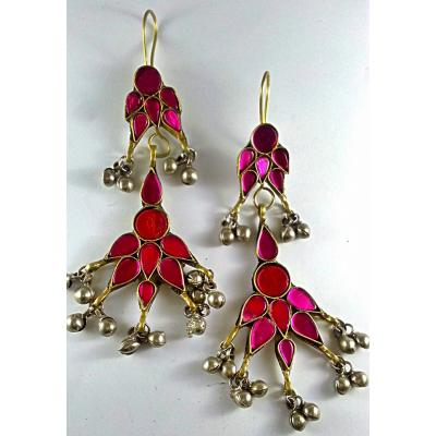 afghan pink stone long earrings