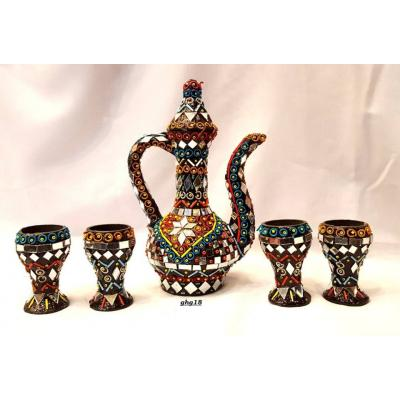 Beautiful Hand Made Glass Decorated Aftaba Set with Glass