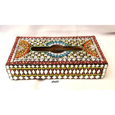 Beautiful Hand Made Glass Decorated Tissue Box