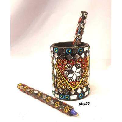 Beautiful Hand Made Glass Decorated Pen Holder