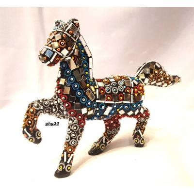 Beautiful Hand Made Glass Decorated Horse