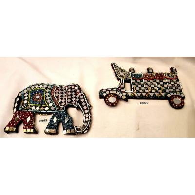 Beautiful Hand Made Glass Decorated Elephant and Truck Key Holder