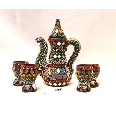 Beautiful Hand Made Glass Decorated Kettle Set with Four Cups