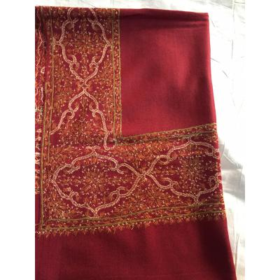 Red Sui Sozni Four Border Pashmina Shawl