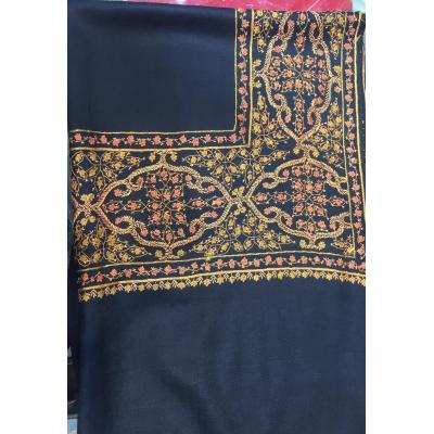 Blue Sui Sozni Four Border Pashmina Shawl