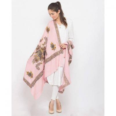 Baby Pink Color Ari Floral Embroidered Pashmina Shawl for Women