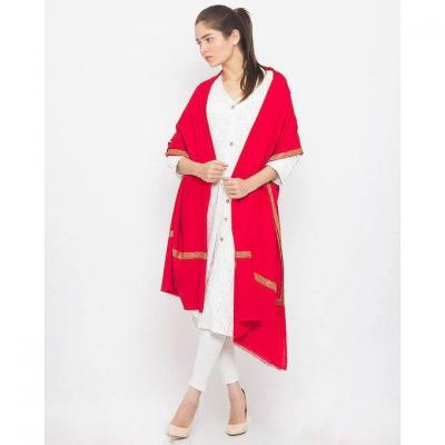Bright Orange Red Color Plain Pashmina Shawl with Hashidar Hand Embroidered Border for Women