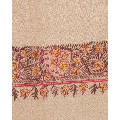 Camel Color Neem Daur Hand Embroidered Border Pashmina Shawl for Women