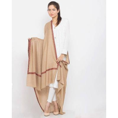 Beige Color Plain Pashmina Shawl with Hashidar Hand Embroidered Border for Women