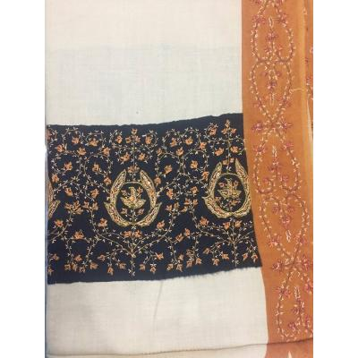 Mustard & Black Colored Sui Palla with Contrast Border Pashmina Shawl for Women