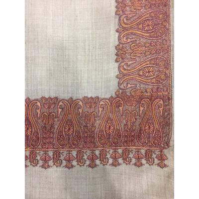 Skin Color Top Daur Hand Embroidered Thickest Border Pashmina Shawl for Women