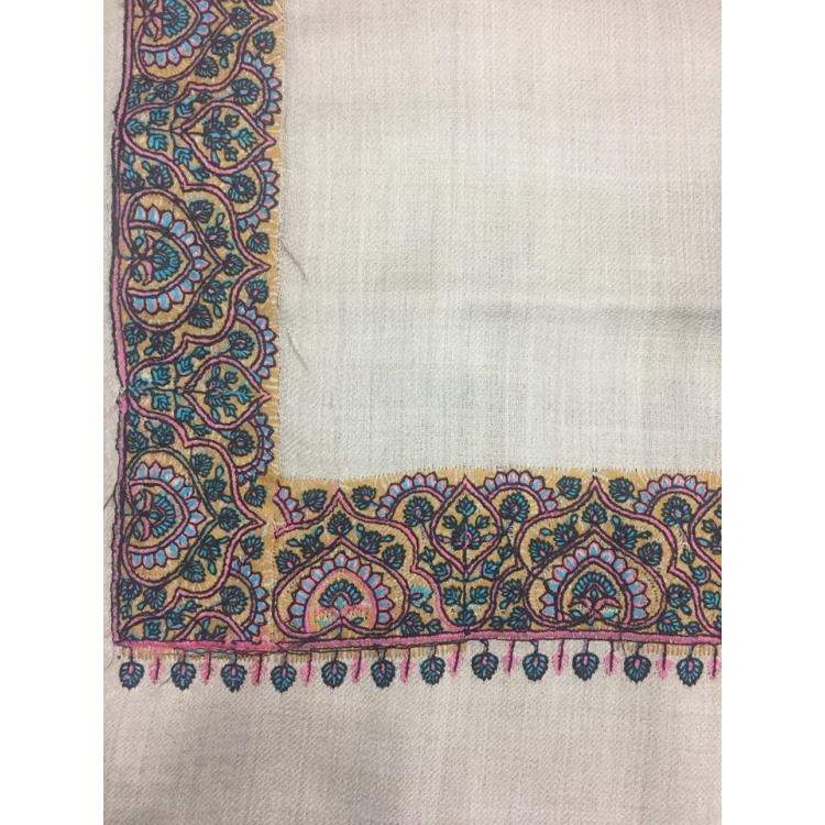 Oyster Color Medium Daur Hand Embroidered Second Thickest Border Pashmina Shawl for Women