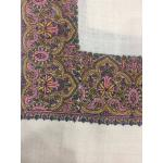 Cool White Color Top Daur Hand Embroidered Thickest Border Pashmina Shawl for Women