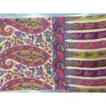 Palladar Qalamkar Multi Color Contrast All Over Print and Hand Embroidery Pashmina Shawl for Women