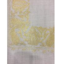 Silver Gray Color Top Daur Hand Embroidered Zarri Border Pashmina Shawl for Women