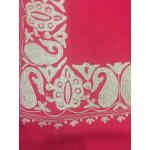 Light Cool Red Color Top Daur Hand Embroidered Zarri Border Pashmina Shawl for Women