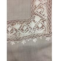 Light True Gray Color Ari Hand Embroidered Net Tissue Border Pashmina Shawl for Women