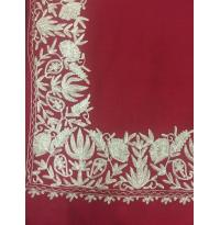 Warm Red Color Top Daur Hand Embroidered Zarri Border Pashmina Shawl for Women