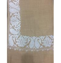 Natural Beige Color Top Daur Hand Embroidered Zarri Border Pashmina Shawl for Women