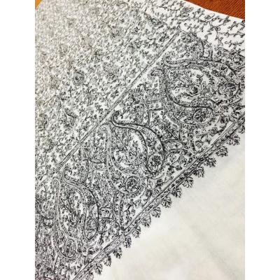 Pashmina Floral Black and White Shawl