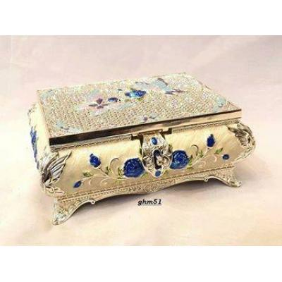 Deco Painted Silver Fancy Jewelry Box with Built-In Makeup Mirror
