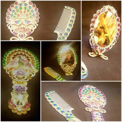 Deco Painted Multi Color Built-In Beads Fancy Comb and Mirror