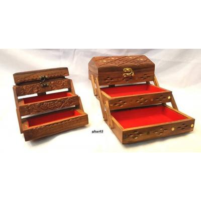 Foldable Wooden Hand Carved Jewelry Box for Women