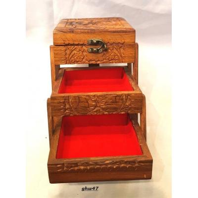 3 Layer Brown Wood Color Wooden Hand Carved Jewelry Box for Women