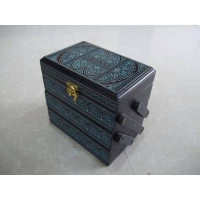 Beautiful Trolley Shape Wooden Antique Handmade Jewelry Box for Women