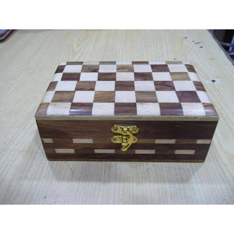 Basket Shape Wooden Hand Carved Jewelry Box for Women