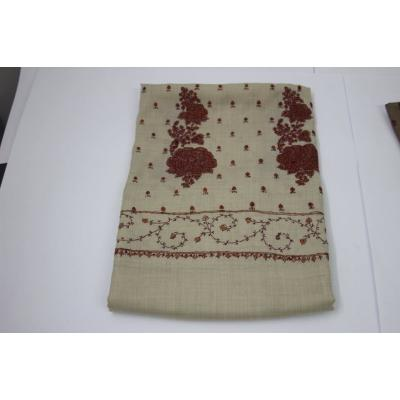 Off White Color Full Embroidered Pashmina Shawl for Women