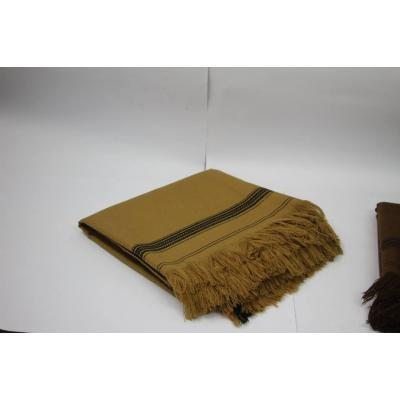 Beige Color Plain Two Side Border Pashmina Shawl for Men