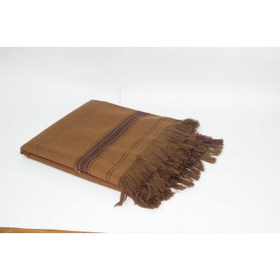 Dark Brown Color Plain Two Side Border Pashmina Shawl for Men