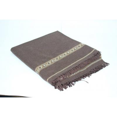 Dark Chocolate Brown Color Plain Two Side Border Pashmina Shawl for Men