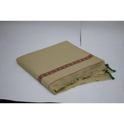 Cream Color Plain Two Side Border Pashmina Shawl for Men