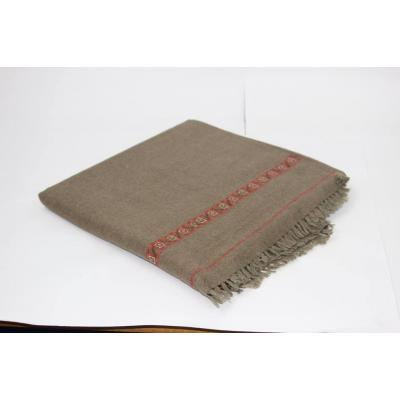 Dark Gray Color Plain Two Side Border Pashmina Shawl for Men