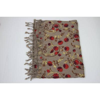 Caramel Color Blend with Multi Hand Embroidery Pashmina Shawl for Women