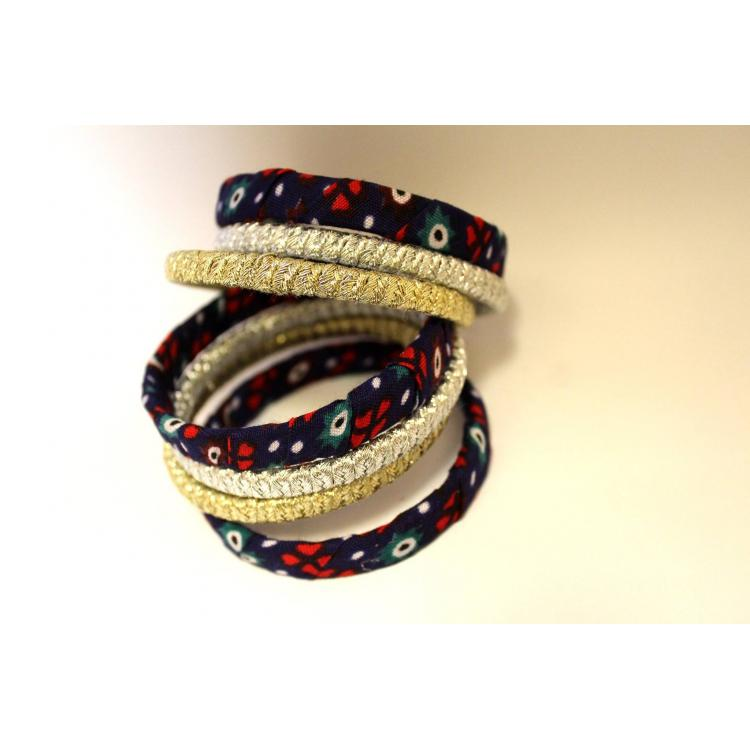 Ajrak Bangles Set (blue)