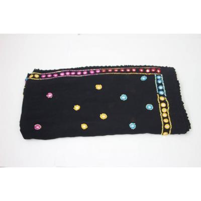 Black Color blend with Multi Hand Mirror Embroidery Wool Shawl for Women